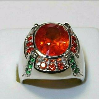 オレンジサファイアのシルバーリング(リング(指輪))