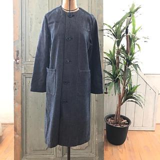 オクラ(OKURA)のブルーブルー OKURA 刺し子 ロングコート 藍染め 日本製(ロングコート)