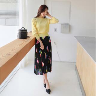 海外インポート品 マルチカラー カラフル リーフ柄 プリーツスカート(ひざ丈スカート)