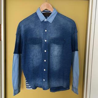 キューブシュガー(CUBE SUGAR)のCube sugar   インディゴ染め異素材ドッキングシャツ(シャツ/ブラウス(長袖/七分))