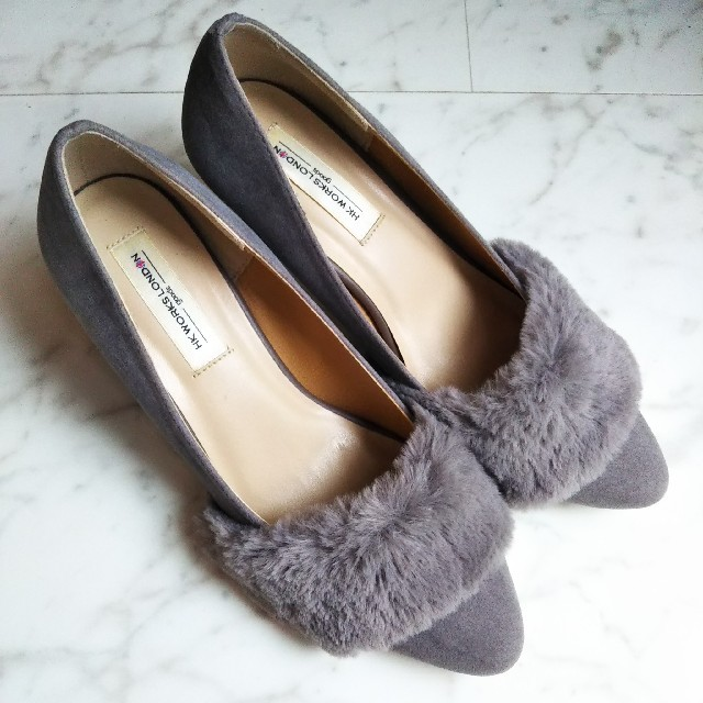 しまむら(シマムラ)のHK WORKS LONDON しまむら ファー付きパンプス レディースの靴/シューズ(ハイヒール/パンプス)の商品写真