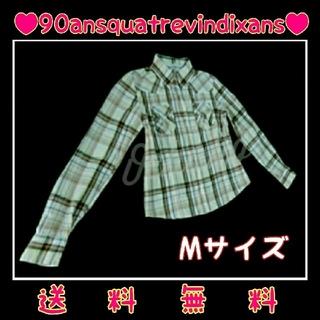 《送料無料》【 美  品 】☆ SIZE : M / ラメ入りチェックシャツ ☆(シャツ/ブラウス(長袖/七分))