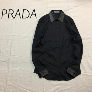 プラダ(PRADA)のPRADA プラダ レザー切り替えシャツ(シャツ/ブラウス(長袖/七分))