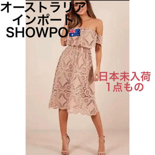 ロンハーマン(Ron Herman)の日本未入荷 オーストラリア インポート SHOWPO ベージュ ドレス ワンピ(ミディアムドレス)