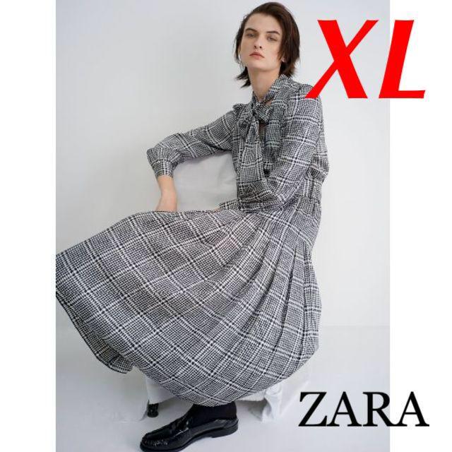 ZARA(ザラ)の新品 完売品 ZARA XL ベルト付き チェック柄 プリーツロングワンピース レディースのワンピース(ロングワンピース/マキシワンピース)の商品写真