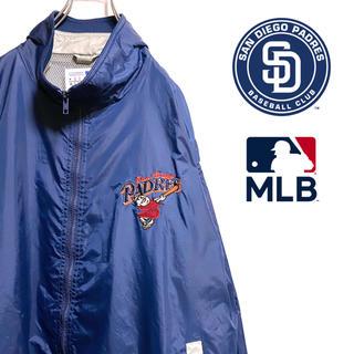 マジェスティック(Majestic)の〔激レア〕90s MLB パドレス ナイロンジャケット 刺繍ロゴ スリーブロゴ(ナイロンジャケット)