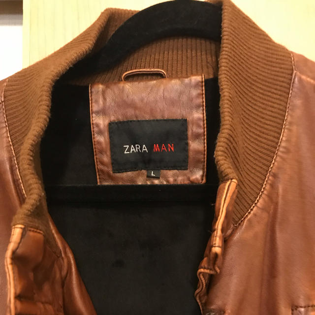 ZARA(ザラ)のレザージャケット ZARA ブラウン メンズのジャケット/アウター(レザージャケット)の商品写真
