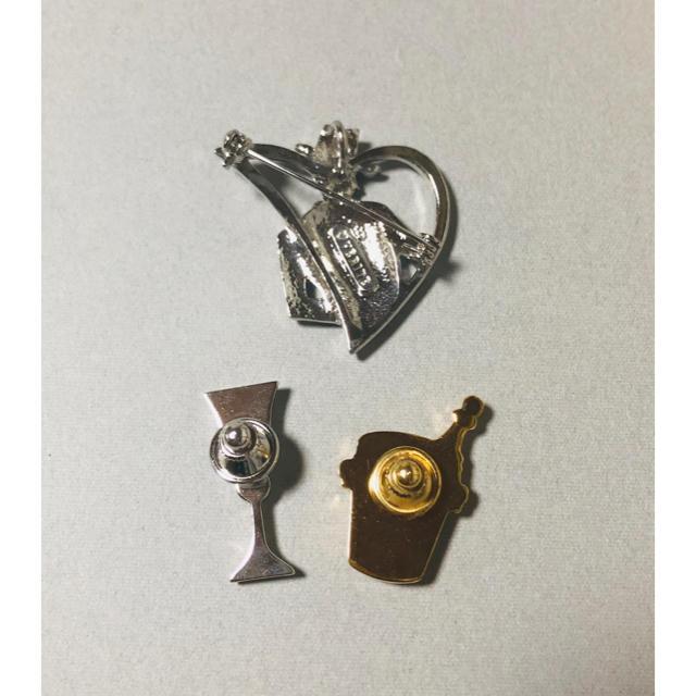 ブローチ 3点セット ★ワイングラス シャンパンボトル ビジュー ラインストーン レディースのアクセサリー(ブローチ/コサージュ)の商品写真