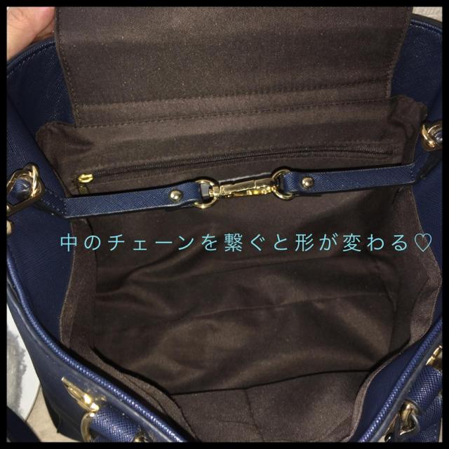 形が変わる!? ハンドバッグネイビー 2way  ショルダー対応♡ レディースのバッグ(ハンドバッグ)の商品写真