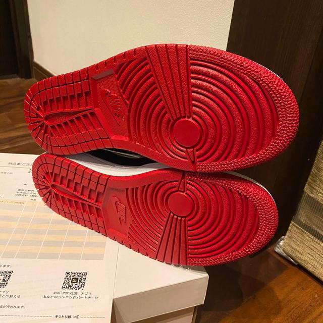 NIKE(ナイキ)のAIR JORDAN1 MID ジョーダン1 ミッドノーブルレッドソールカスタム レディースの靴/シューズ(スニーカー)の商品写真