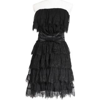 ダブルスタンダードクロージング(DOUBLE STANDARD CLOTHING)のダブスタ ワンピース ドレス レース 黒 ダブルスタンダード ベルト付き(ミニドレス)