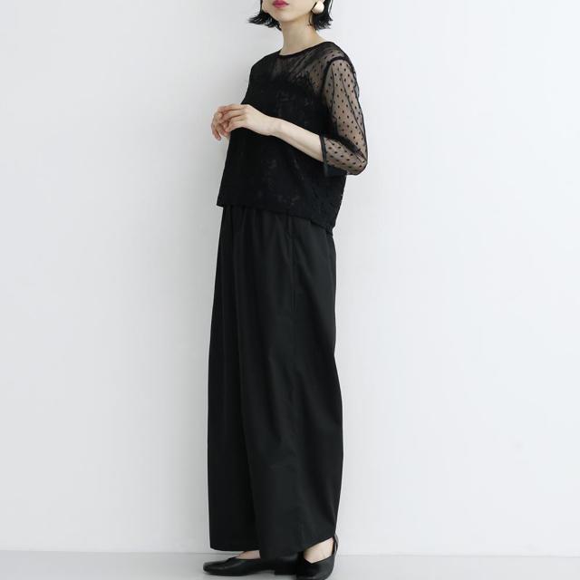 merlot(メルロー)のmerlot plus ドットシアー レース切替 セットアップ パンツドレス レディースのフォーマル/ドレス(その他ドレス)の商品写真