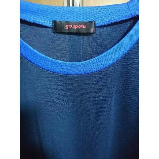 GU(ジーユー)のジーユースポーツ クルーネックT ネイビー×ブルー Sサイズ メンズのトップス(Tシャツ/カットソー(半袖/袖なし))の商品写真