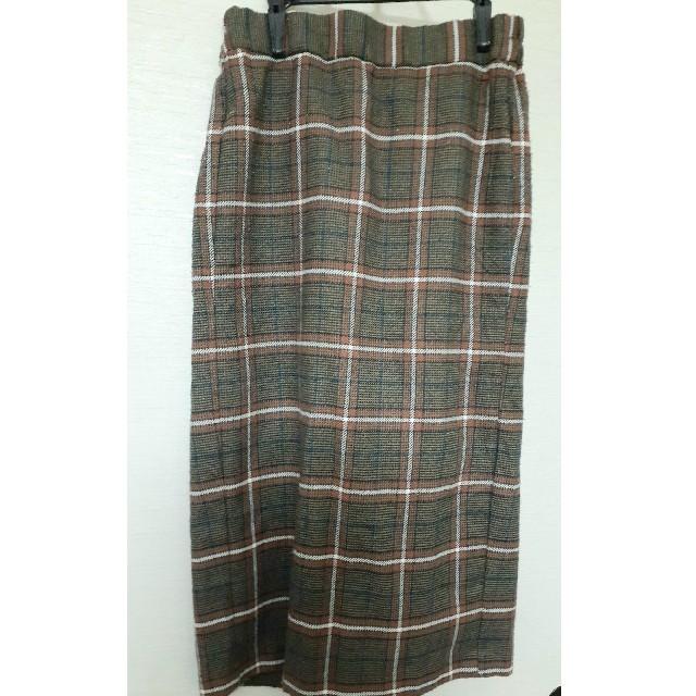 GU(ジーユー)のGU チェック柄タイトスカート ブラウン ゴム レディースのスカート(ロングスカート)の商品写真