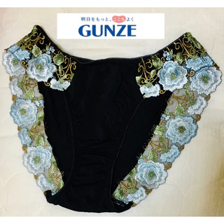 GUNZE - グンゼ ショーツ 黒 刺繍 Lサイズ 未使用 タンス整理品