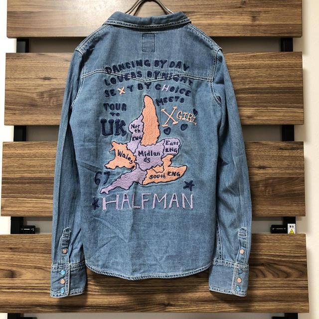 X-girl(エックスガール)のエックスガール × ハーフマン コラボ デニムシャツ レディースのトップス(シャツ/ブラウス(長袖/七分))の商品写真