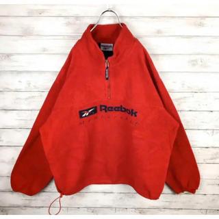 Reebok - リーボック フリース ハーフジップ 刺繍ロゴ レア カラージャケット 90s