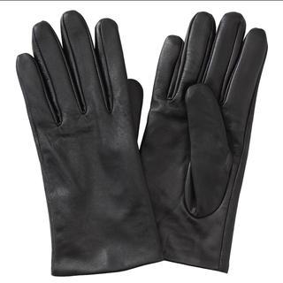 ムジルシリョウヒン(MUJI (無印良品))の無印良品  撥水レザータッチパネル手袋 21cm・黒(手袋)
