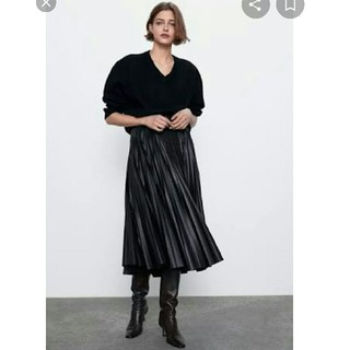 ZARA - ZARA フェイクレザー スカート ブラック 黒