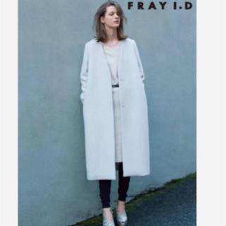 FRAY I.D - ノーカラーウールコート  グレー