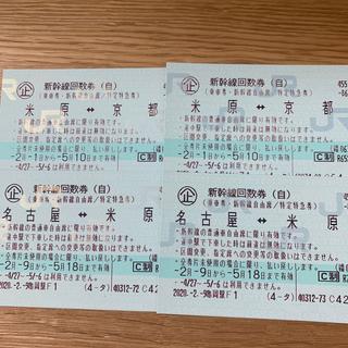 ジェイアール(JR)の名古屋⇆京都 新幹線自由席 往復(鉄道乗車券)