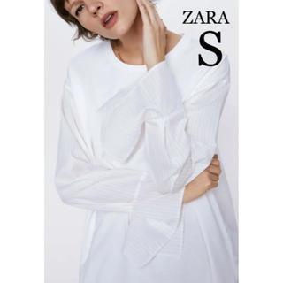 ザラ(ZARA)の【新品・未使用】ZARA コンビ生地 Tシャツ トップス  S(シャツ/ブラウス(長袖/七分))