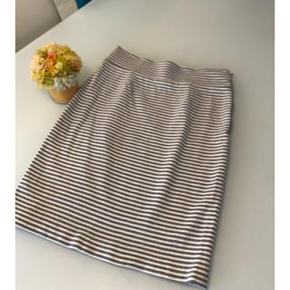 トゥモローランド(TOMORROWLAND)のお値下げ⭐︎GALLARDAGALANTE グレーボーダータイトスカート(ひざ丈スカート)