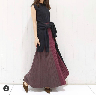 rienda - rienda Color Block Pleat Knit OP ワンピース