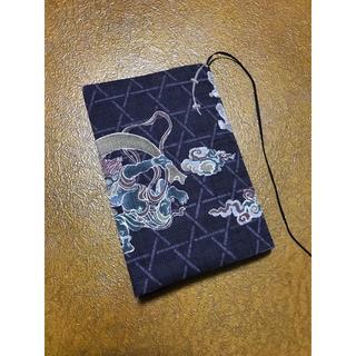 【文庫本用】渋紫色の風神雷神柄のブックカバー ハンドメイド(ブックカバー)