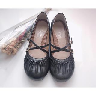 アシナガオジサン(あしながおじさん)のあしながおじさん クロスストラップ 本革 パンプス 黒 24.5cm(ローファー/革靴)