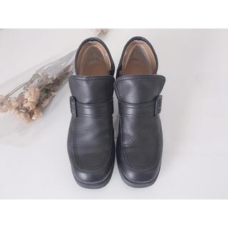 アシナガオジサン(あしながおじさん)のあしながおじさん 本革 ショートブーツ ブーティ 黒 24.5cm(ブーツ)