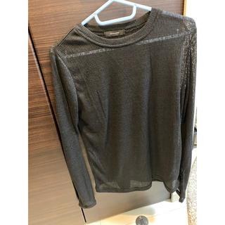 ジーナシス(JEANASIS)のジーナシス シースルー ロングTシャツ ブラック(Tシャツ(長袖/七分))