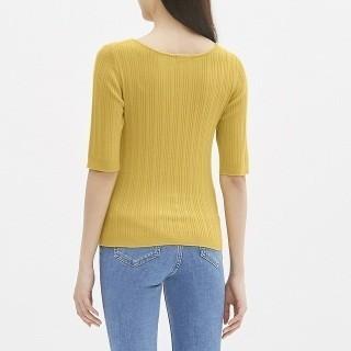 ジーユー(GU)の新品 GU  ワイドリブボートネックセーター(五分袖)(ニット/セーター)