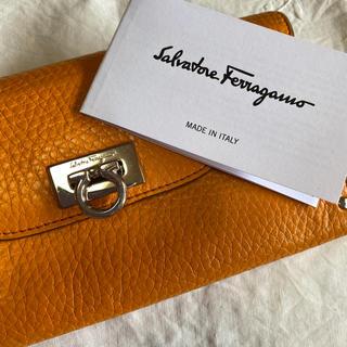 Salvatore Ferragamo - サルヴァトーレフェラガモ ガンチーニ型 長財布 オレンジ ソフトレザー