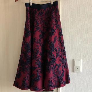 ルシェルブルー(LE CIEL BLEU)のルシェルブルーボタニカル柄ニットスカートセットアップワンピースフレアスカート(ひざ丈スカート)