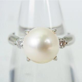 Pt900 天然アコヤ真珠(パール)ダイヤモンド リング 11号[g156-1](リング(指輪))