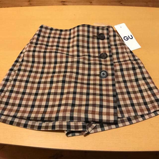 GU(ジーユー)のチェックキュロット キッズ/ベビー/マタニティのキッズ服女の子用(90cm~)(スカート)の商品写真