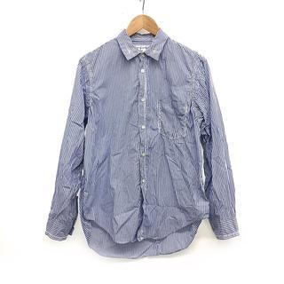 コムデギャルソン(COMME des GARCONS)の美品 コムデギャルソン 長袖 ストライプ シャツ ホワイト × ブルー M 青(シャツ)