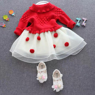 立体 ポンポン 柄編み レッド ニット チュールレースワンピース ドレス(ワンピース)