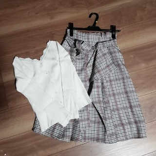 Rirandture - チェックアシメスカートとニットセット