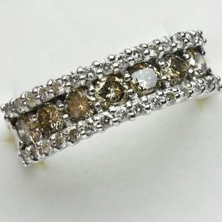 K18WG 合計 1.00ct ダイヤモンドリング 7.5号 指輪  (リング(指輪))