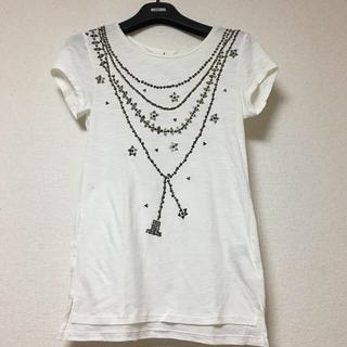 ランバンオンブルー(LANVIN en Bleu)の【LANVIN】 ランバン ビジュー Tシャツ 白(Tシャツ(半袖/袖なし))