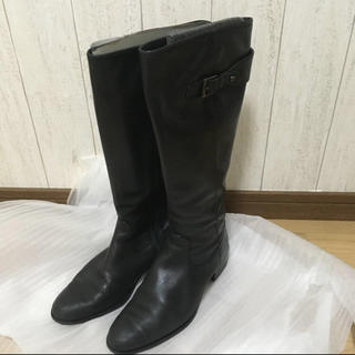 INDIVI 黒 ロングブーツ 24.5(ブーツ)