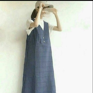 merlot - 完売品 再入荷なし メルロー merlot  チェック刺繍ジャンパースカート
