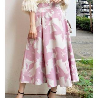 MERCURYDUO - フロッキーフレアスカート♡ピンク