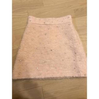 ミュウミュウ(miumiu)のmiumiu ミュウミュウ ビジュー  クリスタル スカート 38 かなり美品(ミニスカート)