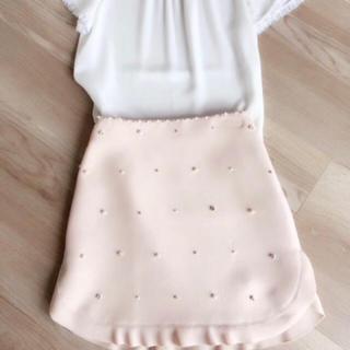 ミュウミュウ(miumiu)のmiumiu ミュウミュウ ビジュー パール スカート 美品 38(ミニスカート)