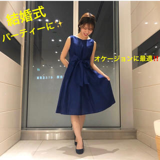 ストロベリーフィールズ(STRAWBERRY-FIELDS)の綺麗なロイヤルブルーです⭐︎ストロベリーフィールズ☆オケージョン リボンドレス(ミディアムドレス)