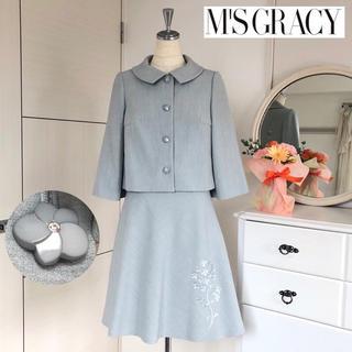 エムズグレイシー(M'S GRACY)の美品エムズグレイシー  フラワースパンコールセットアップフォーマルスーツ グレー(スーツ)