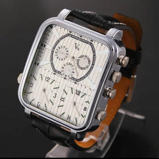 ブイシックス(V6)のV6メンズ腕時計レザーベルト ビッグフェイス 白 ホワイト(腕時計(アナログ))